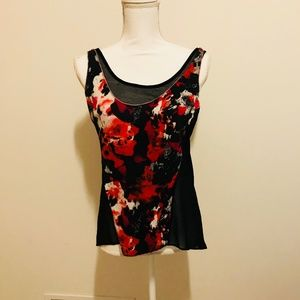 Black Red Floral Tank Top
